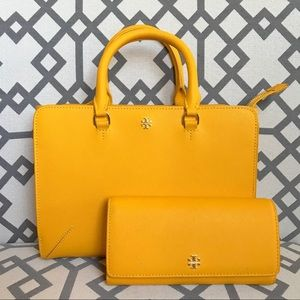 Tory Burch Emerson Tote Yellow & matching Wallet.